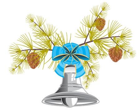 campanula: Campanula with bow on branch evergreen tree