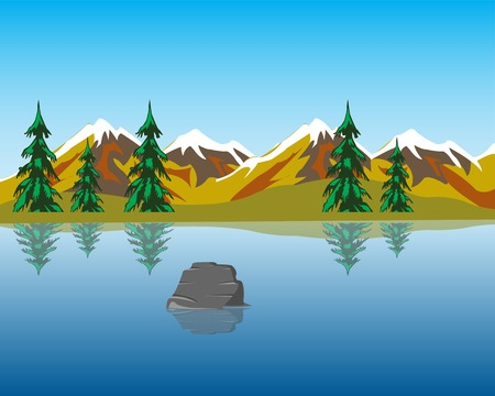 dawning: The Beautiful lake in mountain amongst wood.Vector illustration
