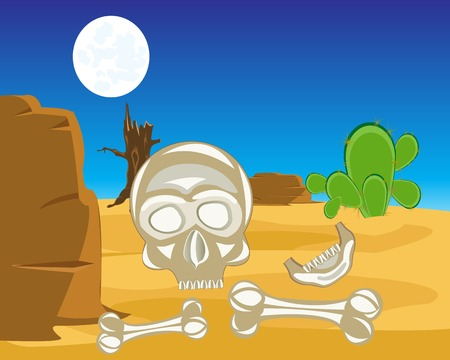 The Human bones and skull in desert.Vector illustration Vector