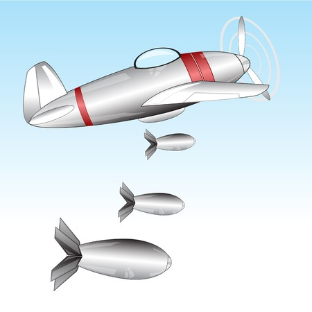 defensive: The Warplane throws the bombs.Vector illustration of the plane