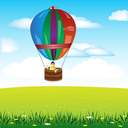boldness: The Persons flying on air ball.Vector illustration