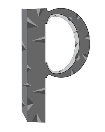 insulated: Letter  from stone on white background is insulated Illustration