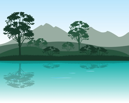 dawning: The Morning on calm river in mountain.Vector illustration