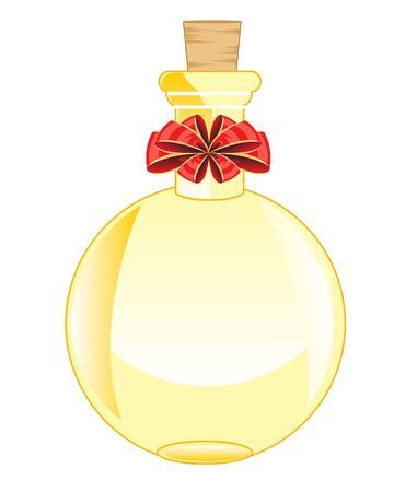 vial: The Round glass vial decorated by red bow.Vector illustration Illustration