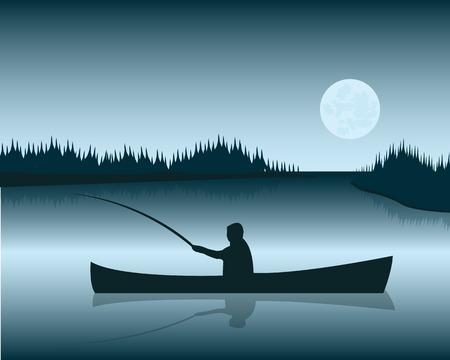 pescador: Silueta de la barca con los pescadores en el fondo del lago Vectores