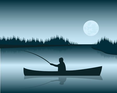 Silhouette of the boat with fisherman on background lake