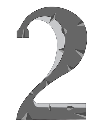 numeral: Decorative numeral two on white background is insulated Illustration