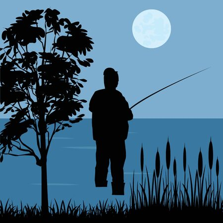 bulrush: Silhouette of the fisherman with riverside fishing rod