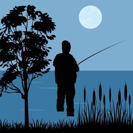 fascinação: Silhueta do pescador com haste de pesca ribeirinha