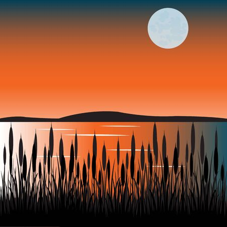 bulrushes: The Taps on lake with bulrush.Vector illustration
