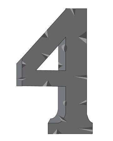 numeral: Decorative numeral  four on white background is insulated Illustration