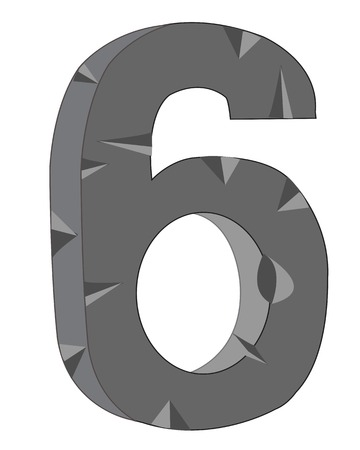 rift: Decorative numeral  six on white background is insulated Illustration
