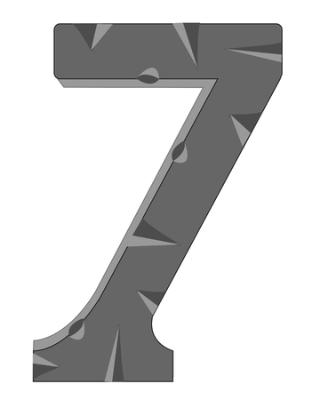 numeral: Decorative numeral  seven on white background is insulated Illustration