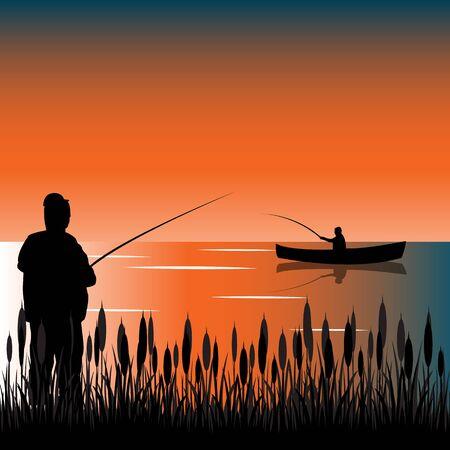 fascinação: As torneiras no lago com a ilustração bulrush.Vector