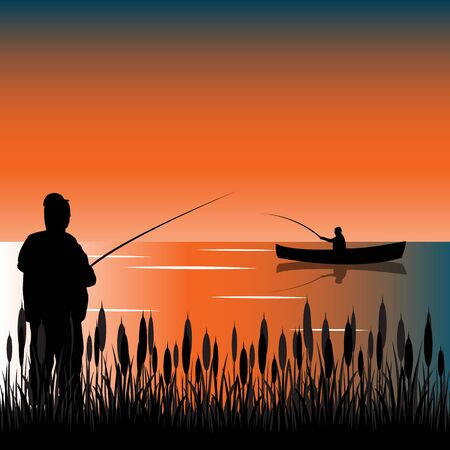 dawning: The Taps on lake with bulrush.Vector illustration