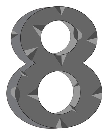 Decorative numeral eight  on white background is insulated