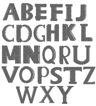 rifts: Decorative letters of the alphabet on white background is insulated