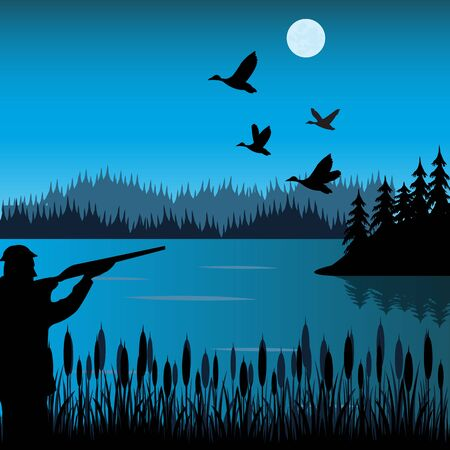 shoots: The Huntsman on lake shoots at flying duck. Illustration
