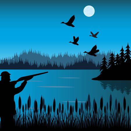 huntsman: The Huntsman on lake shoots at flying duck. Illustration