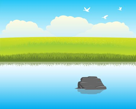 calm: The Calm river with clean water.Vector illustration