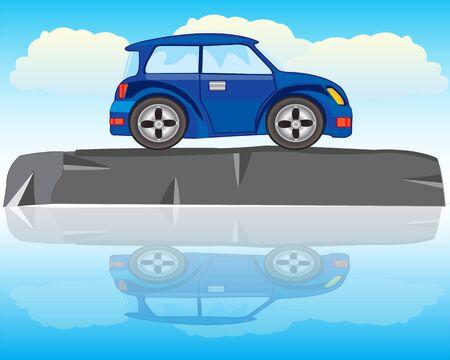 The Blue car on riverside stone.Vector illustration Illusztráció