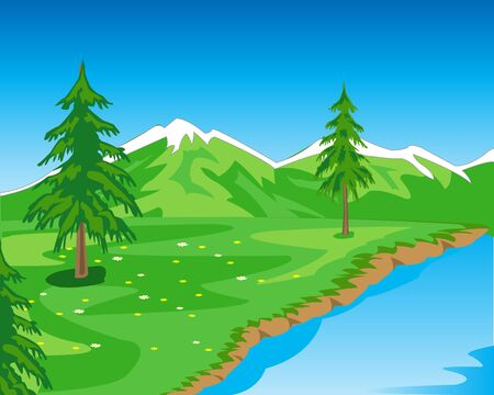 natures: The Beautiful year landscape seeshore.Vector illustration natures