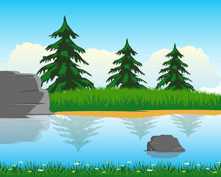 bay area: The Calm river with clean water.Vector illustration