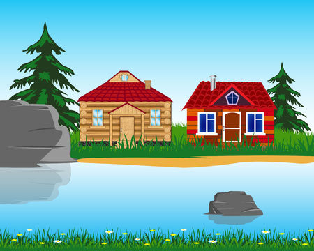 The Village ashore clean and transparent river.Vector illustration