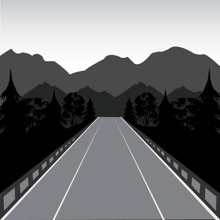 sectoring: The Car road in mountain and wood.Vector illustration