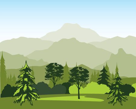 fur trees: The Beautiful landscape with wood and mountain. Illustration