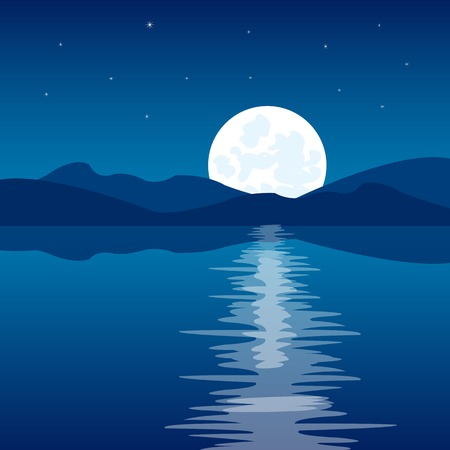phosphorescence: The Reflection of the moon in clean water.Vector illustration Illustration