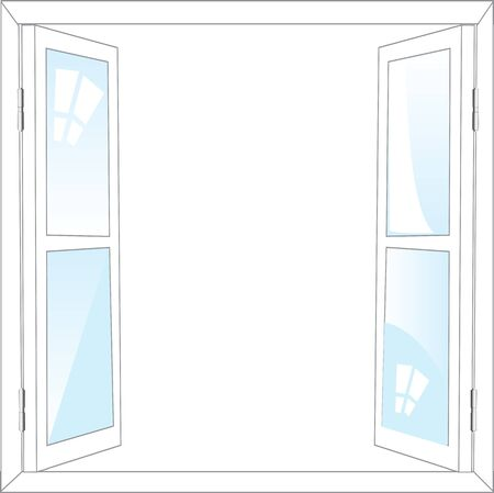 casement: The Open window on white background is insulated.Vector illustration