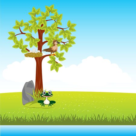 nestling birds: The Year landscape with tree and animal.Vector illustration