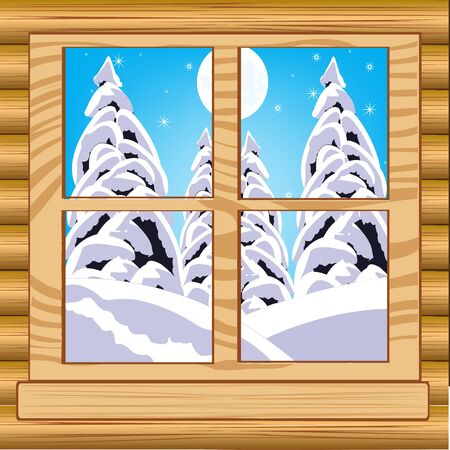 window view: The Beautiful view from window on winter wood.Vector illustration