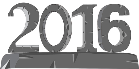 typographies: The Decorative numerals year 2015 from stone.Vector illustration Illustration