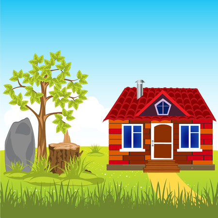 rural areas: The Small beautiful lodge on nature by summer.Vector illustration