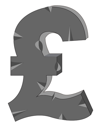 sterling: Sign pound sterling from stone on white background
