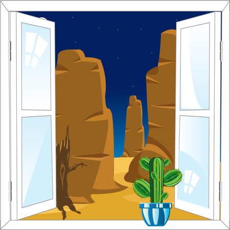 open window: Beautiful view on desert from open window Illustration