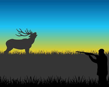 huntsman: The Huntsman unadulterated in deer on glade.Vector illustration