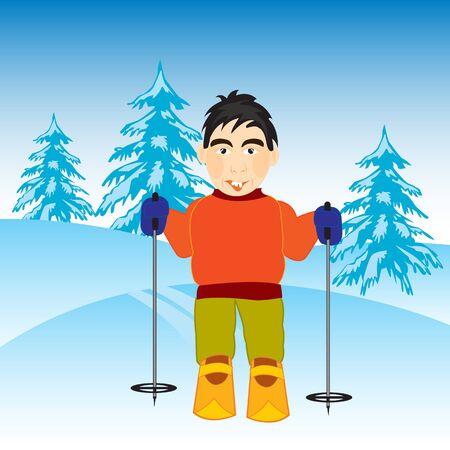 fascinação: O esquiador homem no inverno wood.Vector ilustração