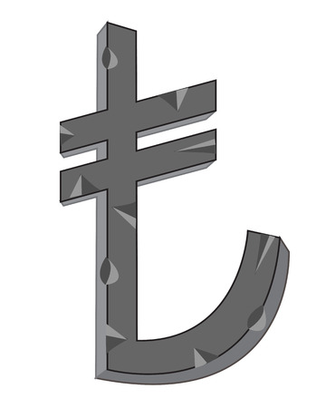 lira: Sign lira from stone on white background Illustration