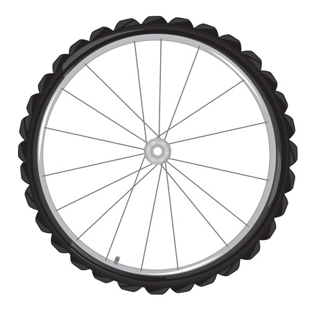 insulated: Wheel from bicycle on white background is insulated