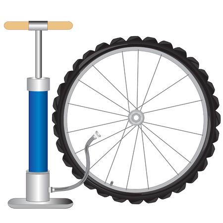 手動ポンプと白い背景の上の自転車からホイール