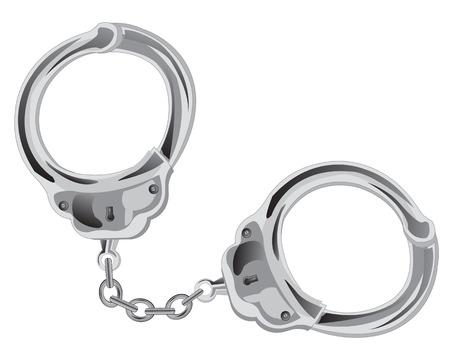 manacles: Esposas en cadena en el fondo blanco est� aislado Vectores