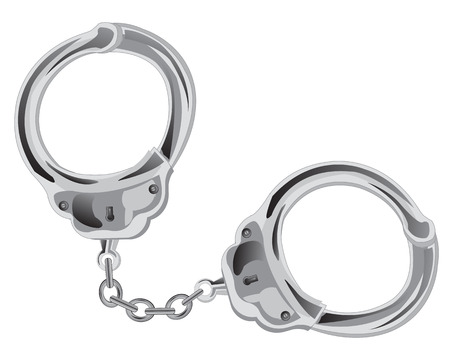 detention: Manacles on chain on white background is insulated Illustration