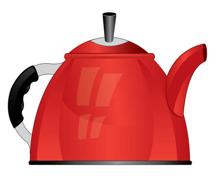 insulated: Red teapot on white background is insulated Illustration