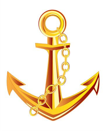 ship anchor: Ship anchor from gild on white background insulated