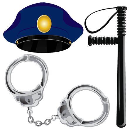 manacles: Instalaciones a la polic�a cuerpos bate y esposas con casquillo de servicio Vectores