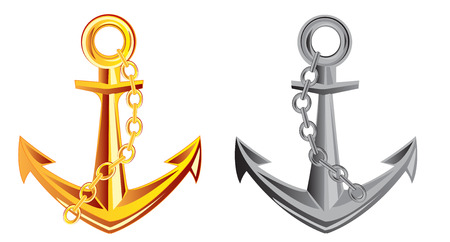 insulated: Anchor from gild and metal on white background is insulated Illustration
