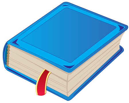 One blue book on white background is insulated Illustration
